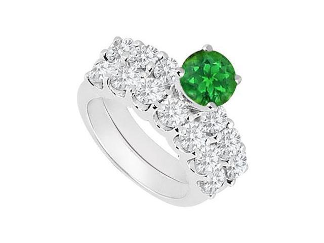 14K White Gold  Emerald and Diamond Engagement Ring with Wedding Band Set 1.15 CT TGW