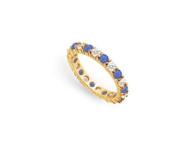 Two Carat Created Sapphire and CZ Eternity Band in 18K Yellow Gold Vermeil