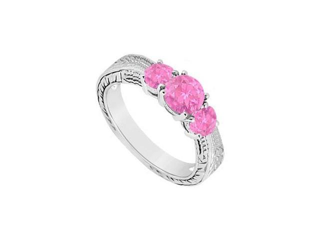 Created Pink Sapphire Three Stone Ring .925 Sterling Silver 0.50 CT TGW