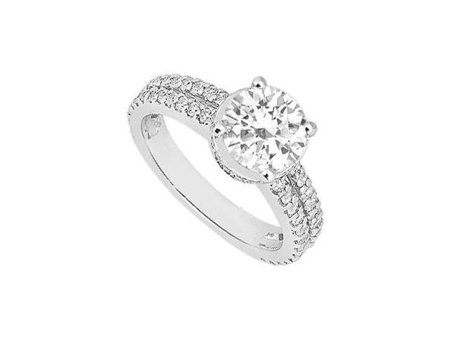 1 Carat Cubic Zirconia Engagement Ring in 14K White Gold