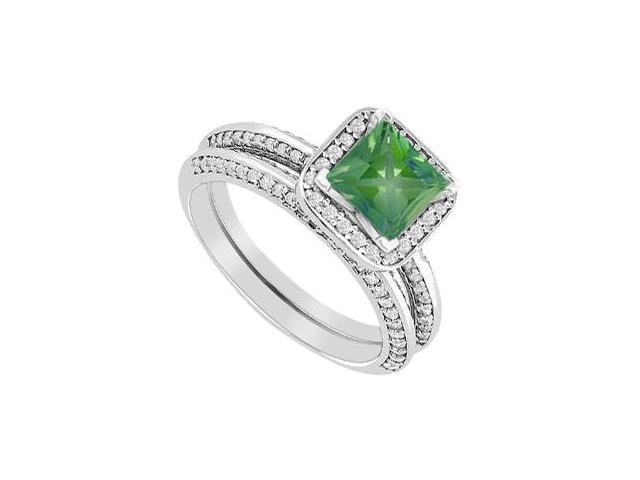 Princess Cut Emerald Engagement Ring with Diamonds Wedding Band in 14K White Gold 1.40 Carat TGW