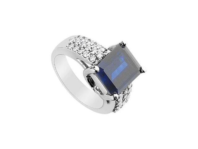 Diffuse Sapphire and Cubic Zirconia Ring 14K White Gold 4.75 Carat Total Gem Weight