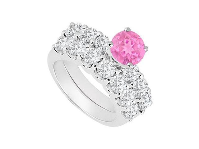 14K White Gold  Pink Sapphire and Diamond Engagement Ring with Wedding Band Set 1.15 CT TGW