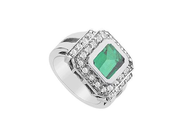 Frosted Emerald and Cubic Zirconia Ring 14K White Gold 3.00 Carat Total Gem Weight