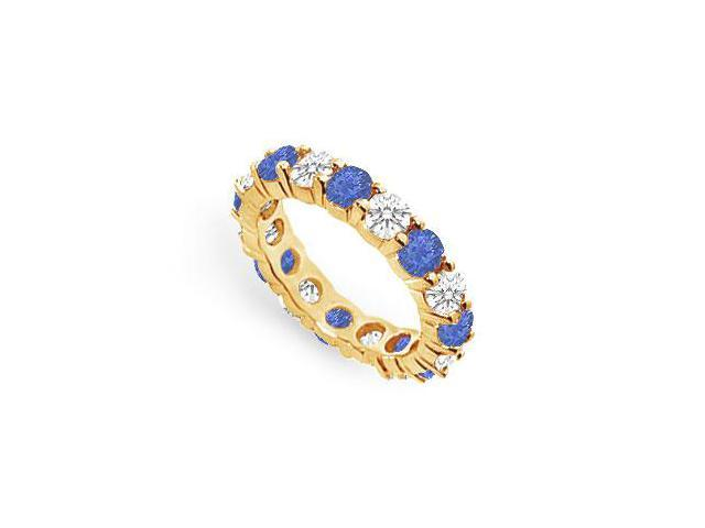 Eternity Band Sapphire Created with CZ in 18K Yellow Gold Vermeil  3 CT. TGW.