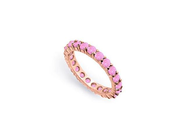 2ct Created Pink Sapphire Eternity Band in 14K Rose Gold Vermeil in Prong Setting