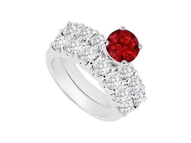 14K White Gold  Ruby and Diamond Engagement Ring with Wedding Band Set 1.15 CT TGW
