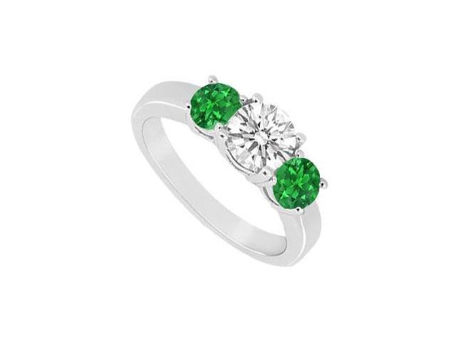 Sterling Silver Frosted Emerald and Cubic Zirconia Three Stone Ring 1.00 CT TGW