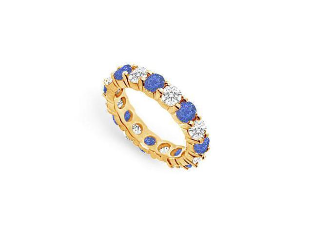 Created Sapphire Eternity Band with CZ Four Carat on 18K Yellow Gold Vermeil