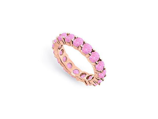 Created Pink Sapphire Eternity Ring Stackable Band 14K Rose Gold Vermeil. 4 ct.tw