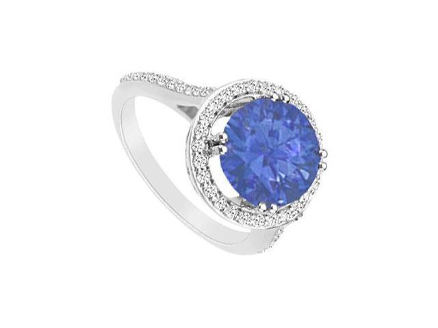 Sapphire and Diamond Ring 14K White Gold 1.25 Carat Total Gem Weight