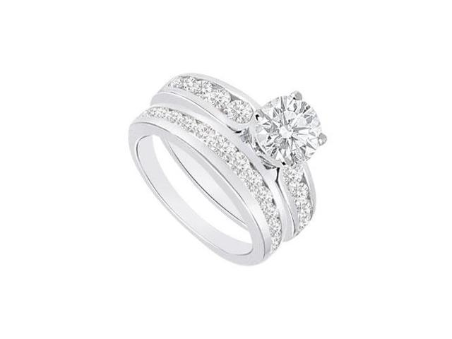 Diamond Engagement Ring with Wedding Band Sets 14K White Gold  1.75 CT TDW