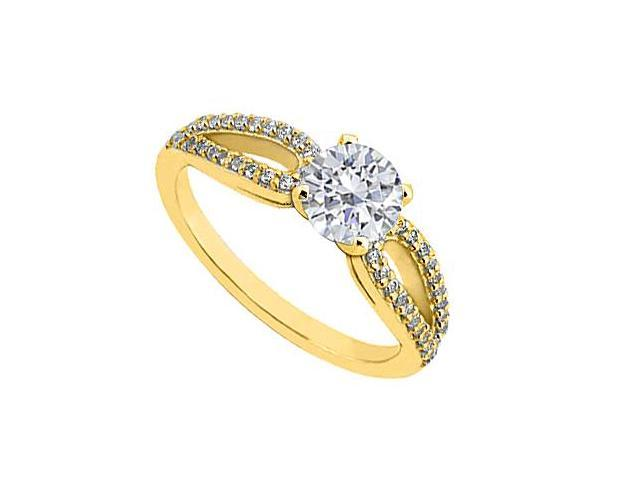 14K Yellow Gold 1 Carat Engagement Ring of Triple AAA Quality Cubic Zirconia