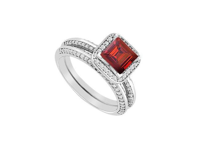 14K White Gold Ruby Princess Cut Engagement Ring with Diamonds Wedding Band Sets 1.40 Carat TGW
