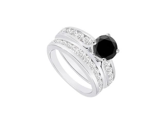Black  White Diamond Engagement Ring with Wedding Band Sets 14K White Gold  1.75 CT TDW