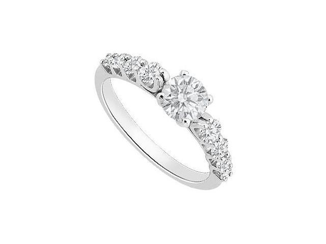 Cubic Zirconia Engagement Ring in 14K White Gold Totaling 1 Carat Triple AAA CZ
