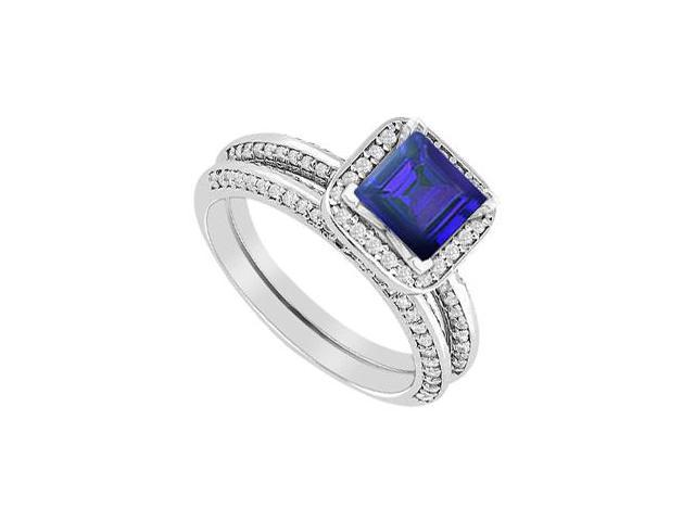 Engagement Ring Sapphire Princess Cut with Diamonds Wedding Band Sets in 14K White Gold 1.40 CT