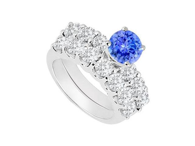 14K White Gold  Tanzanite and Diamond Engagement Ring with Wedding Band Set 1.15 CT TGW