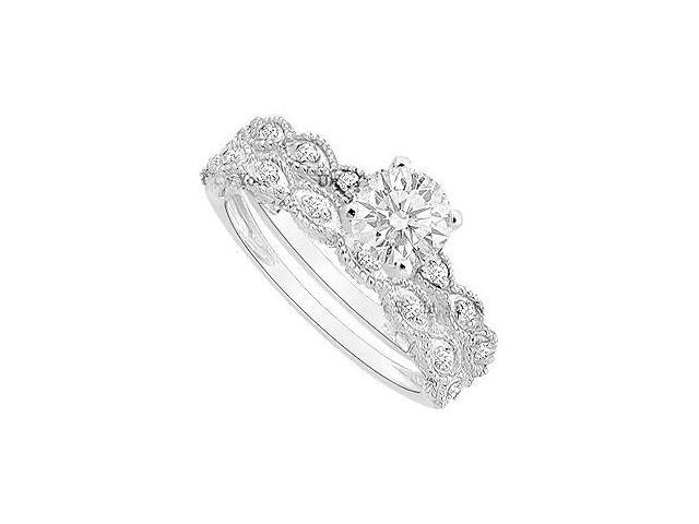 Diamond Engagement Ring with Wedding Band Set  14K White Gold - 0.50 CT Diamonds