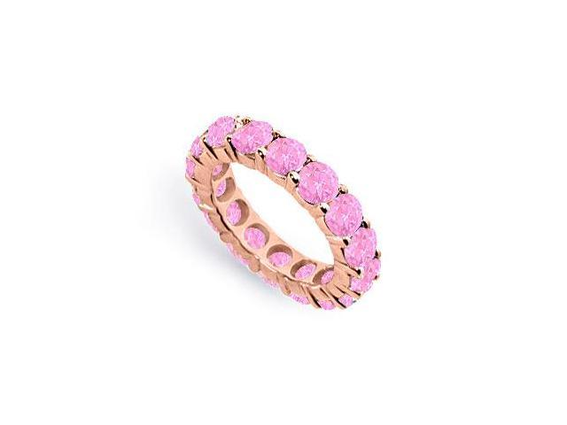 Created Pink Sapphire Eternity Ring Stackable Band 14K Rose Gold Vermeil. 8 ct.tw