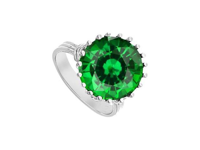 Frosted Emerald Fashion Mounting Solitaire Ring 14K White Gold 1.00 Carat Total Gem Weight