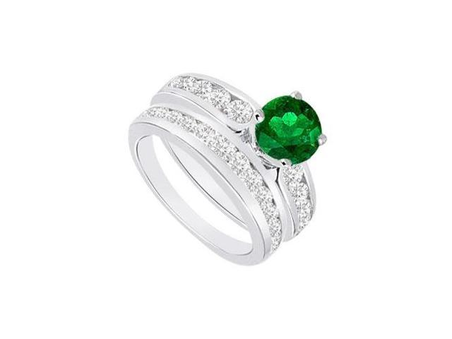 Emerald  Diamond Engagement Ring with Wedding Band Sets 14K White Gold  1.75 CT TGW
