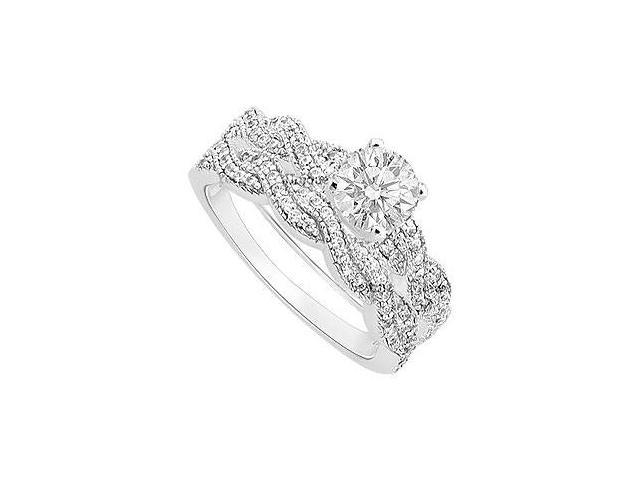 Diamond Engagement Ring with Wedding Band Set  14K White Gold - 0.80 CT Diamonds