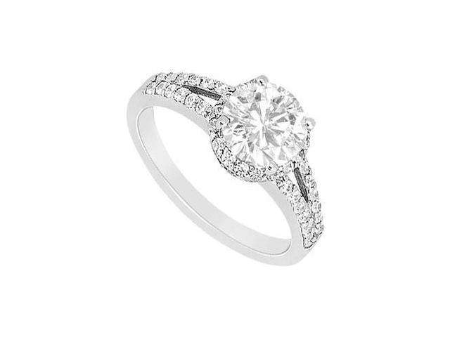 Solid 14K White Gold Cubic Zirconia Engagement Ring of 1 Carat Total Gem Weight