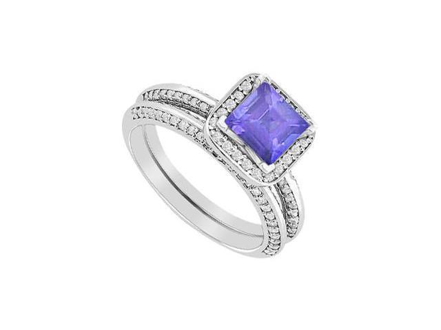 Tanzanite Princess Cut Engagement Ring with Diamonds Wedding Band Sets 1.40 Carat in White Gold