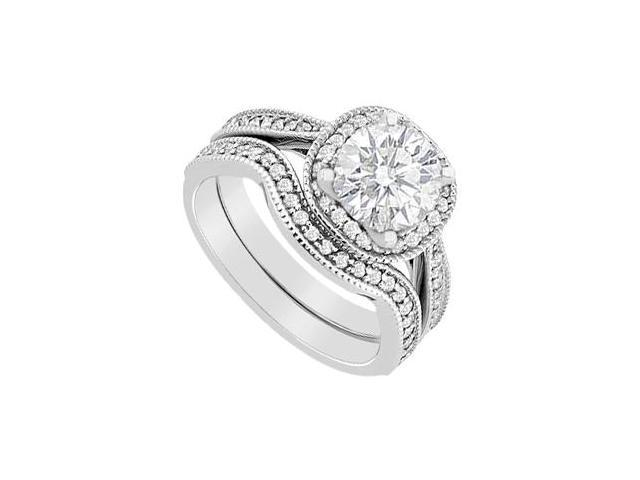 1 Carat Diamond Halo Engagement Ring in 14K White Gold with Wedding Band Sets