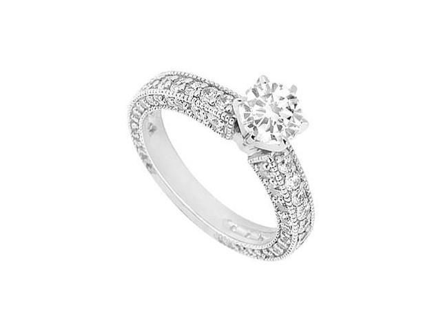 Cubic Zirconia Engagement Ring in Milgrain 14K White Gold 1.50 Carat Total Gem Weight