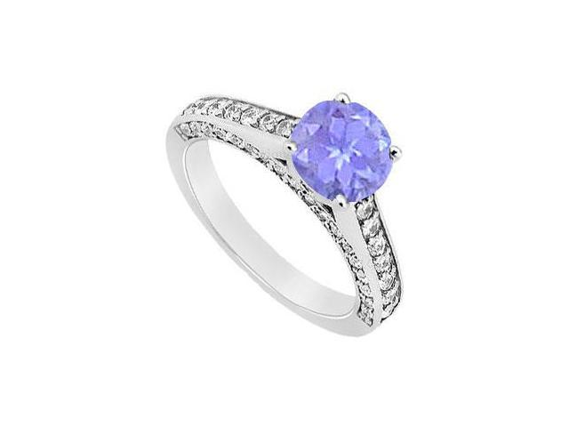 Sterling Silver Created Tanzanite and Cubic Zirconia Engagement Ring 1.25 CT TGW