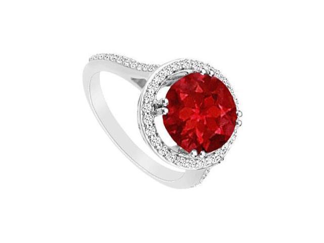 GF Bangkok Ruby and Diamond Ring 14K White Gold  1.25 Carat Total Gem Weight