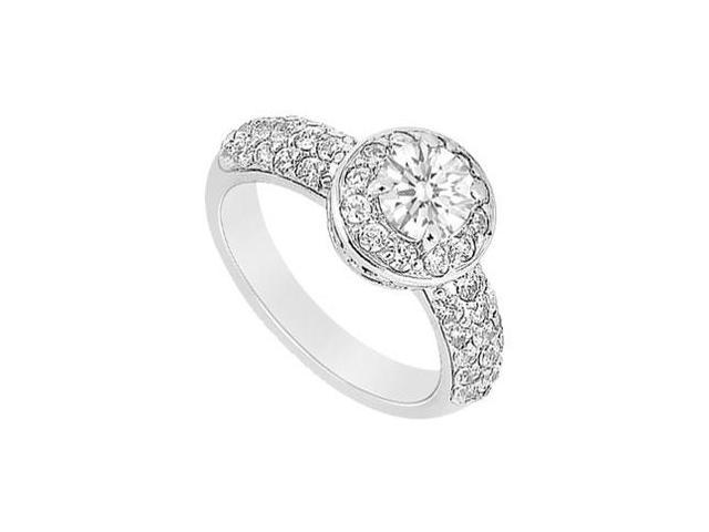 Halo Engagement Ring of Cubic Zirconia in 14K White Gold 1.50 Carat Total gem Weight