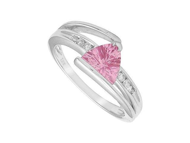 Created Pink Sapphire and Diamond Ring  14K White Gold - 1.25 CT TGW