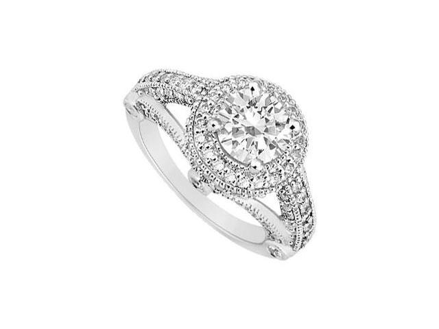 Engagement Ring in 14K White Gold Milgrain Cubic Zirconia of 1.50 Carat Total Gem Weight