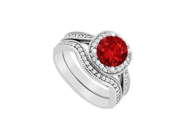 14K White Gold Ruby and Diamond Halo Engagement Ring with Wedding Band Set 1.25 Carat TGW