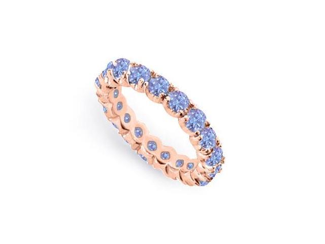 2 Carat Created Tanzanite Eternity Rings in 14K Rose Gold Vermeil in Prong Setting
