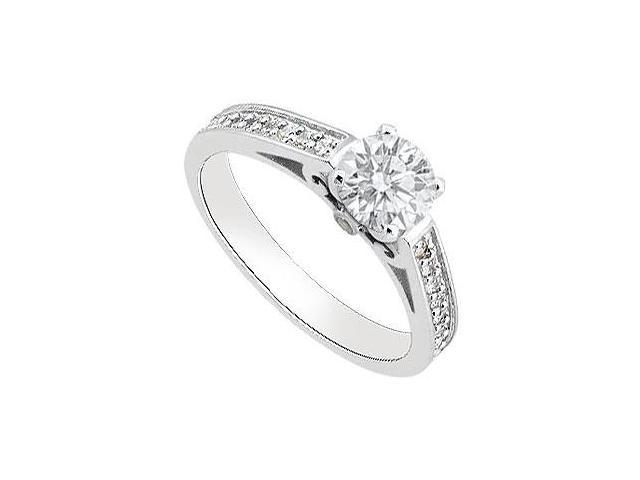 14K White Gold Engagement Ring Totaling 1 Carat CZ Triple AAA Quality