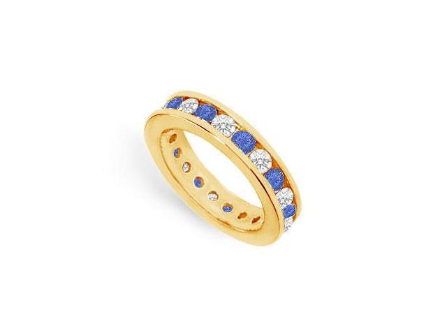 CZ Eternity Bands with Sapphire Created Two Carat in 18K Yellow Gold Vermeil Channel Set