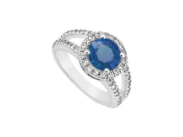 Diffuse Sapphire and Cubic Zirconia Engagement Ring 925 Sterling Silver 1.25 CT TGW