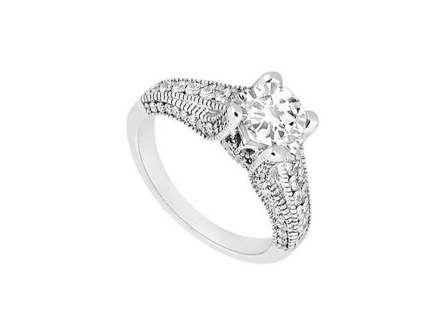 Cubic Zirconia Engagement Ring in 14K White Milgrain Design of 1 Carat Total Gem Weight