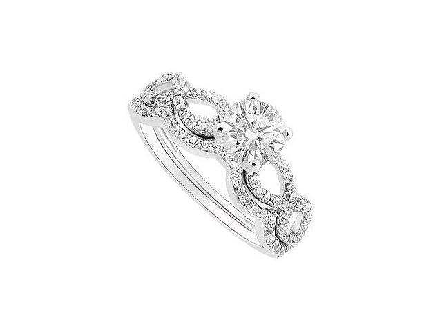 Diamond Engagement Ring with Wedding Band Set  14K White Gold - 0.65 CT Diamonds