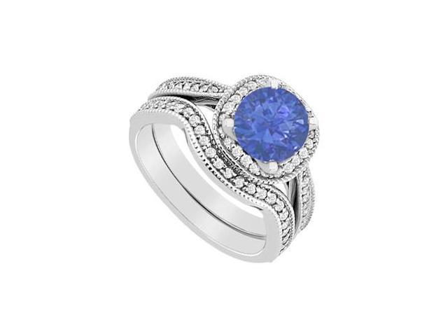 Diamond and Sapphire Halo engagement Ring with Wedding Band Set in 14K White Gold 1.25 Carat TGW