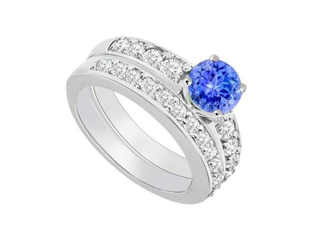 14K White Gold  Tanzanite and Diamond Engagement Ring with Wedding Band Set 1.50 CT TGW