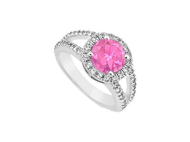 Created Pink Sapphire and Cubic Zirconia Engagement Ring .925 Sterling Silver 1.25 CT TGW