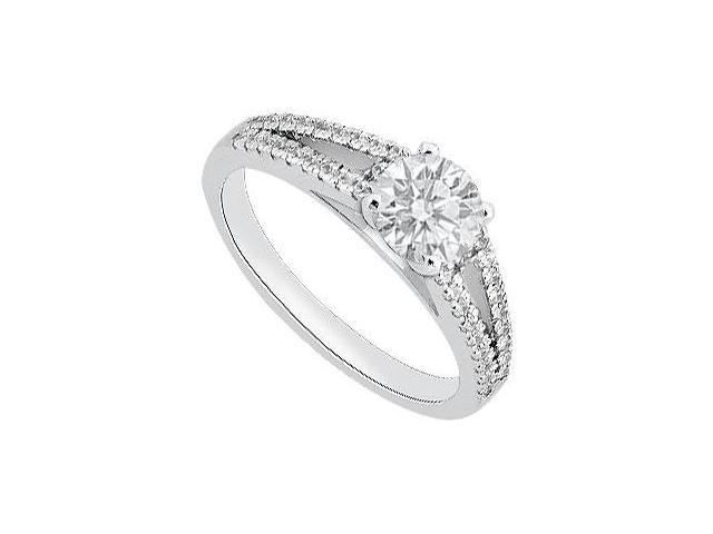 Cubic Zirconia Engagement Ring in 14K White Gold Totaling 1 Carat CZ of AAA Quality