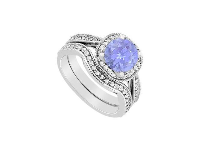 Tanzanite and Diamond Halo Engagement ring with Wedding Band Sets 1.25 Carat in 14K White Gold