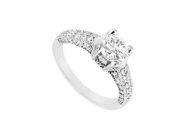 14K White Gold Milgrain Cubic Zirconia Engagement Ring of 1.50 Carat Total Gem Weight