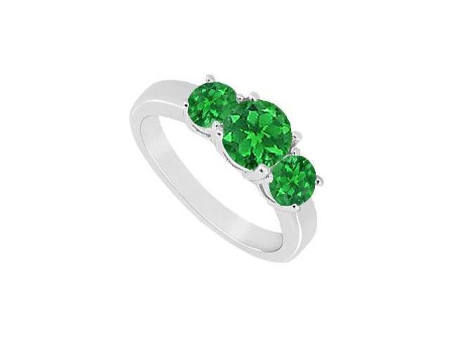 Sterling Silver Frosted Emerald Three Stone Ring 1.00 Carat Total Gem Weight
